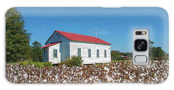 Little Church In The Cotton Field Galaxy Case by Bonnie Barry
