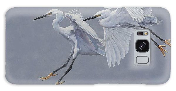 Little Egrets In Flight Galaxy Case