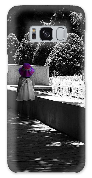 Little Girl In Magenta Hat Black And White Selective Color Galaxy Case