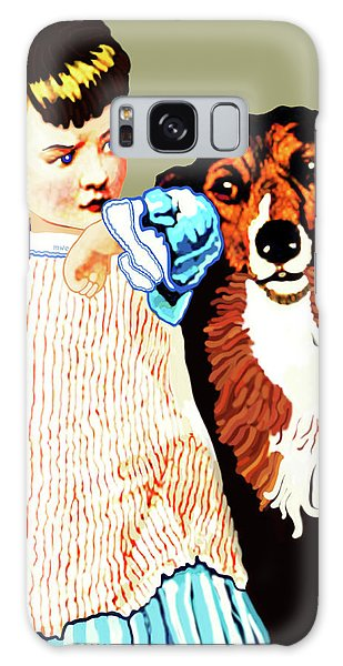 Little Girl With Hungry Mutt Galaxy Case