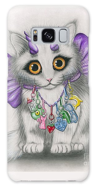 Galaxy Case featuring the mixed media Little Purple Horns - 1980s Cute Devil Kitten by Carrie Hawks