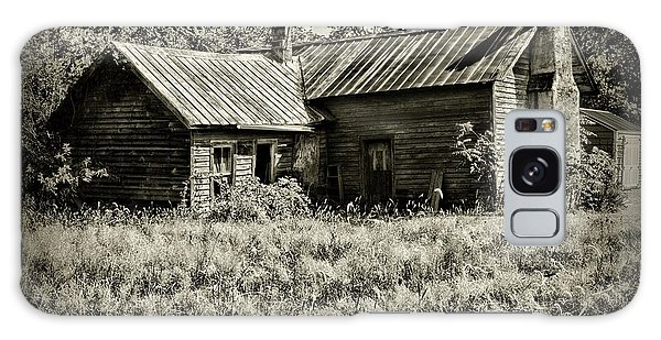 Little Red Farmhouse In Black And White Galaxy Case by Paul Ward