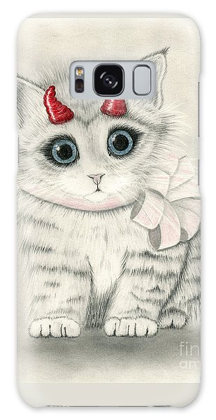 Galaxy Case featuring the drawing Little Red Horns - Cute Devil Kitten by Carrie Hawks