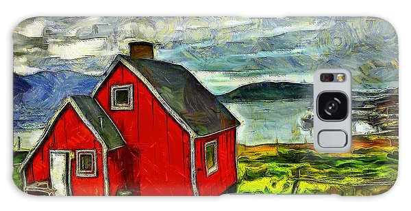 Little Red House In Greenland Galaxy Case