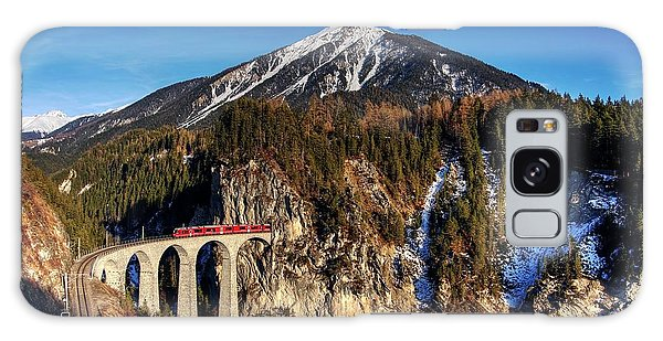Galaxy Case featuring the photograph Little Red Train In The Swiss Alps by Peter Thoeny