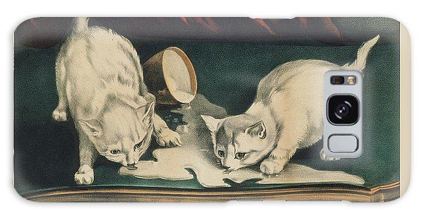 Galaxy Case featuring the painting Little White Kitties Into Mischief                                                      by Matthias Hauser