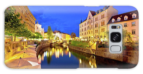 Ljubljanica River Waterfront In Ljubljana Evening View Galaxy Case by Brch Photography