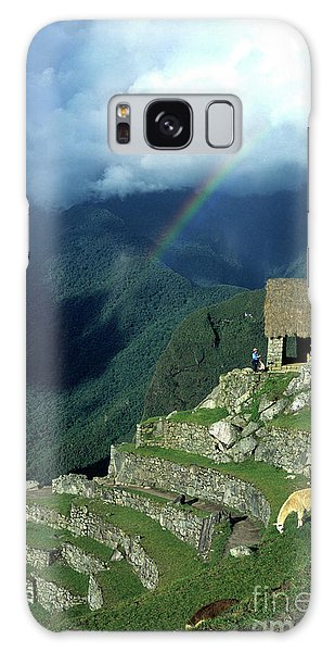 Llama And Rainbow At Machu Picchu Galaxy Case
