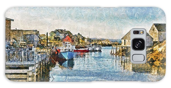 Galaxy Case featuring the digital art Lobster Boats At Peggy's Cove In Nova Scotia by Digital Photographic Arts