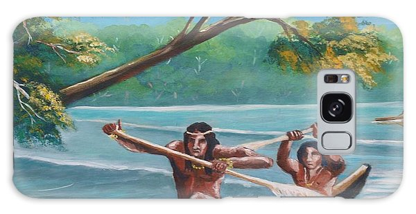 Locals Rowing In The Amazon River Galaxy Case