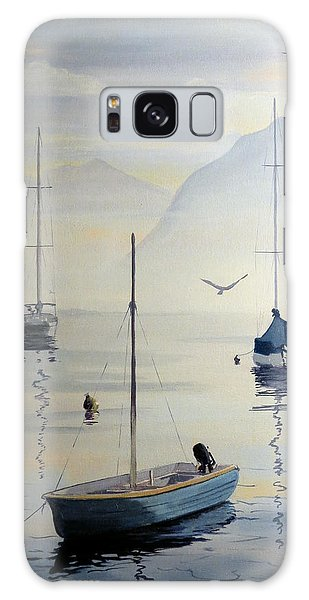 Galaxy Case featuring the painting Locarno Boats In February by David Gilmore