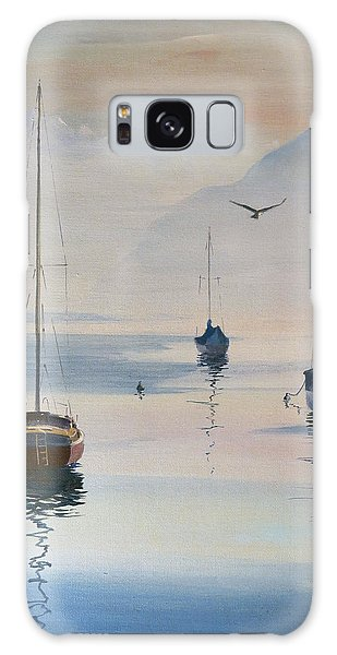 Galaxy Case featuring the painting Locarno Boats In February-2 by David Gilmore