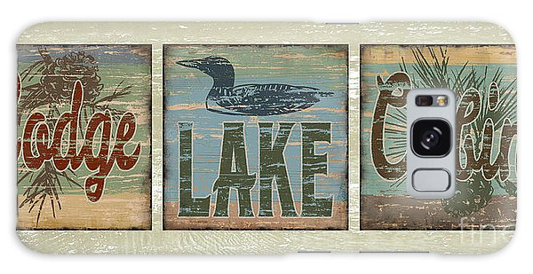 Lodge Lake Cabin Sign Galaxy Case by Joe Low