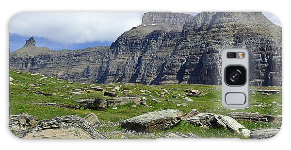 Logan Pass Meadow And Mountains In Glacier National Park Galaxy Case