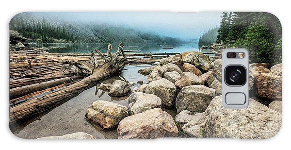 Moraine Lake Galaxy Case - Logs And Boulders Moraine Lake Banff by Joan Carroll