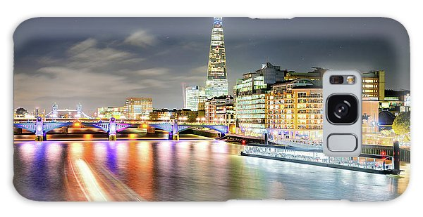 London At Night With Urban Architecture, Amazing Skyscraper And Boat At Thames River, United Kingdom Galaxy Case