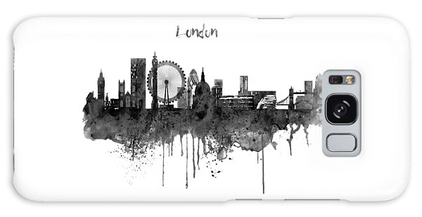 Gray Galaxy Case - London Black And White Skyline Watercolor by Marian Voicu