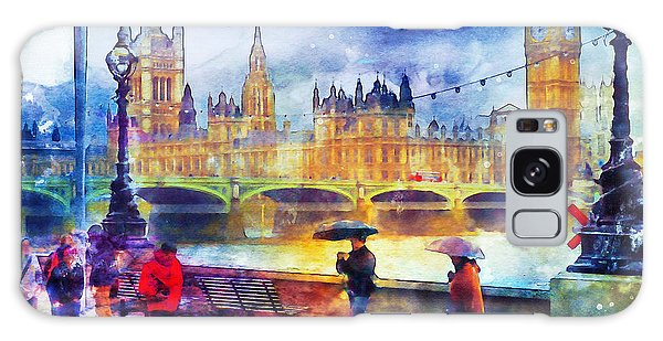Houses Of Parliament Galaxy Case - London Rain Watercolor by Marian Voicu