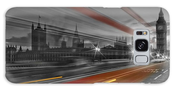 Houses Of Parliament Galaxy Case - London Red Bus by Melanie Viola