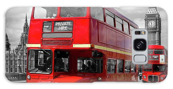 Houses Of Parliament Galaxy Case - London Red Buses On Westminster Bridge by Melanie Viola