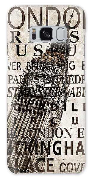 London Eye Galaxy Case - London Vintage Poster Sepia by Delphimages Photo Creations