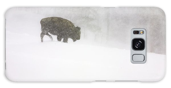 Lone Buffalo Bull In Winter Storm Galaxy Case