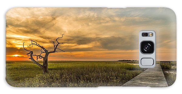 Lone Cedar Dock Sunset - Dewees Island Galaxy Case