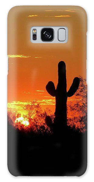 Lone Saguaro Sunrise Galaxy Case