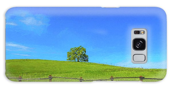Lone Tree On A Hill Digital Art Galaxy Case