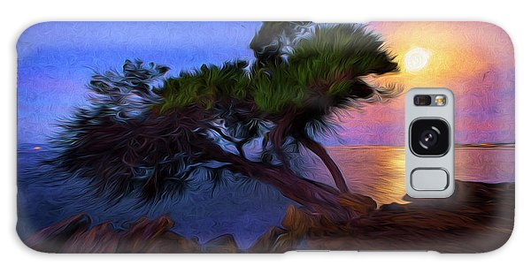 Lone Tree On Pacific Coast Highway At Moonset Galaxy Case by John A Rodriguez