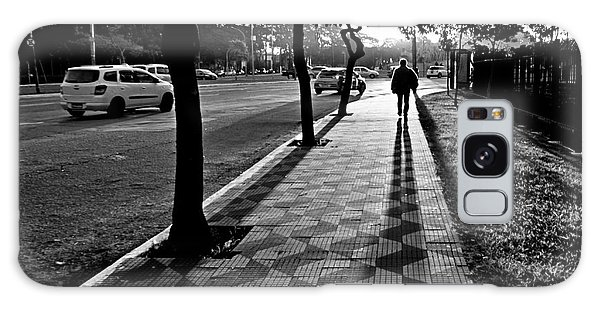 Lonely Man Walking At Dusk In Sao Paulo Galaxy Case
