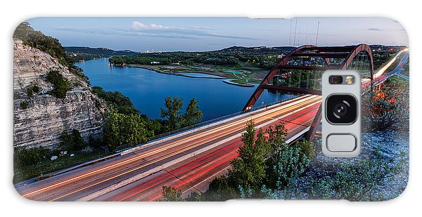 Long Exposure View Of Pennybacker Bridge Over Lake Austin At Twilight - Austin Texas Hill Country Galaxy Case