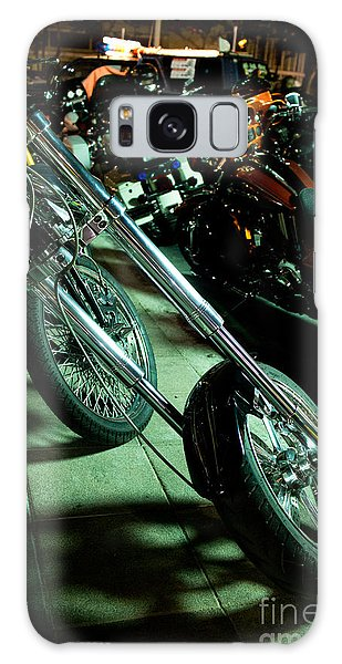 Long Front Fork And Wheel Of Chopper Bike At Night Galaxy Case by Jason Rosette