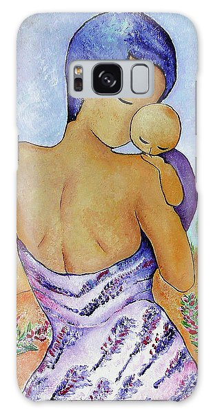 Long Impasto Motherhood Vertical Painting  Galaxy Case by Gioia Albano