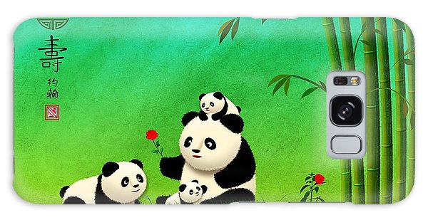 Longevity Panda Family Asian Art Galaxy Case