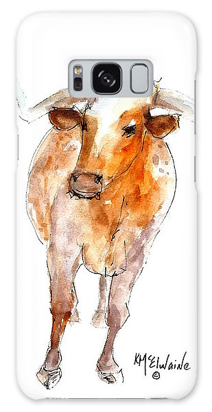 Longhorn 1 Watercolor Painting By Kmcelwaine Galaxy Case