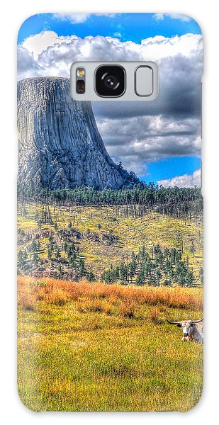 Longhorn At Devils Tower Galaxy Case
