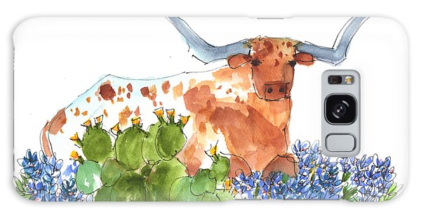 Longhorn In The Cactus And Bluebonnets Lh014 Kathleen Mcelwaine Galaxy Case
