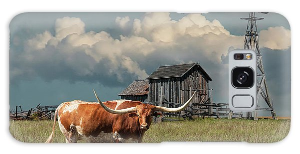 Longhorn Steer In A Prairie Pasture By Windmill And Old Gray Wooden Barn Galaxy Case