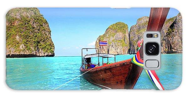 Phi Phi Island Galaxy Case - Longtail Boat At Maya Bay by MotHaiBaPhoto Prints