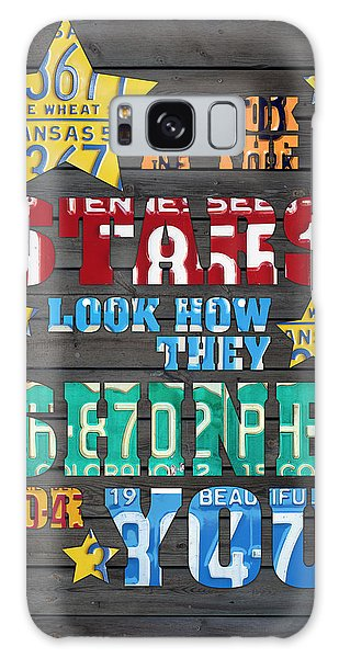 Look At The Stars Coldplay Yellow Inspired Typography Made Using Vintage Recycled License Plates Galaxy Case