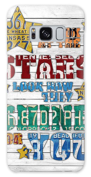 Look At The Stars Coldplay Yellow Inspired Typography Made Using Vintage Recycled License Plates V2 Galaxy Case