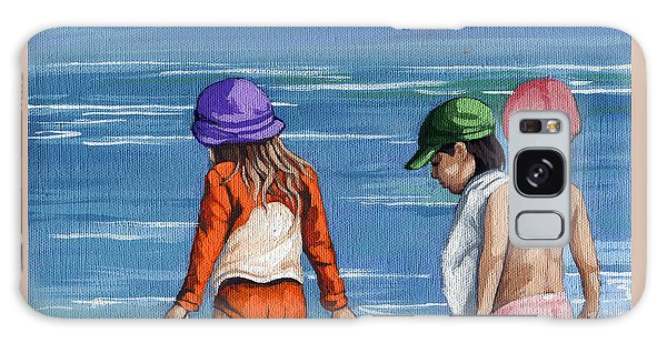 Looking For Seashells Children On The Beach Figurative Original Painting Galaxy Case