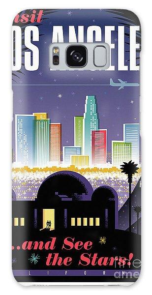 Los Angeles Retro Travel Poster Galaxy Case by Jim Zahniser