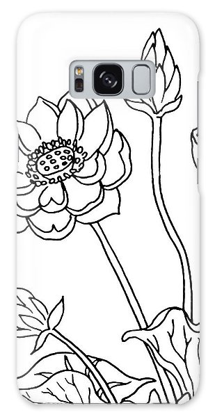 Plants Galaxy Case - Lotus Flowers Drawing  by Irina Sztukowski