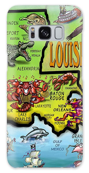 Louisiana Cartoon Map Galaxy Case
