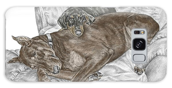 Lounge Lizards - Doberman Pinscher Puppy Print Color Tinted Galaxy Case by Kelli Swan
