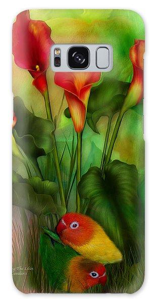 Lovebird Galaxy S8 Case - Love Among The Lilies  by Carol Cavalaris