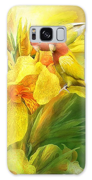 Galaxy Case featuring the mixed media Love Among The Orchids by Carol Cavalaris