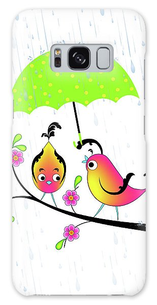 Love Birds In Rain Galaxy Case
